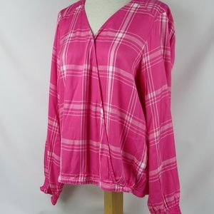 Sanctuary Pink Plaid Wrap Front L/S Top Large NWT